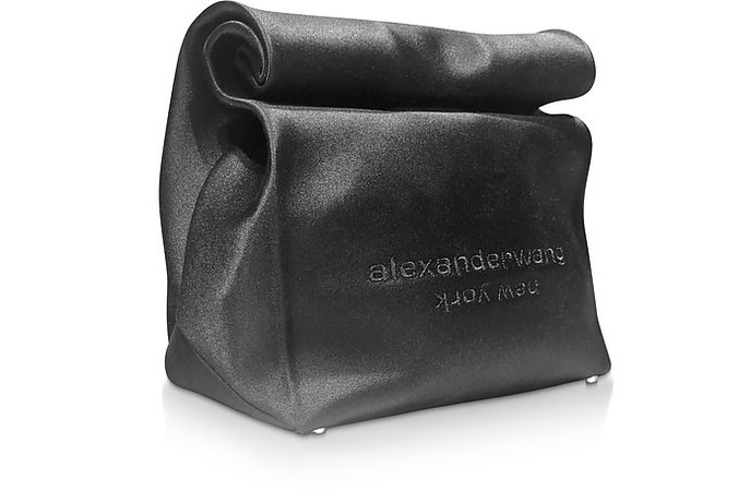 Alexander Wang Black Satin Lunch Bag Clutch w/Embroidered Logo at FORZIERI