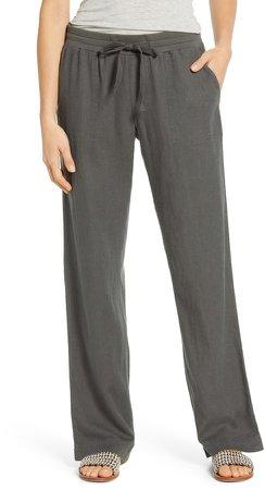Drawstring Linen Blend Pants