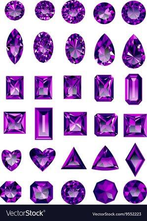 Set of realistic purple amethyst jewels Royalty Free Vector