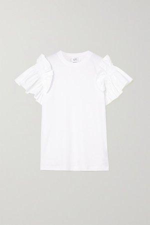 Ruffled Organic Cotton-jersey T-shirt - White