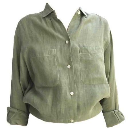 Button-Up Green Shirt w/ Sleeves Rolled Up