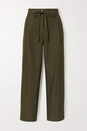 Belted Cropped Woven Wide-leg Pants - Army green