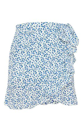 Blue Floral Tie Detail Frill Edge Wrap Mini Skirt | PrettyLittleThing