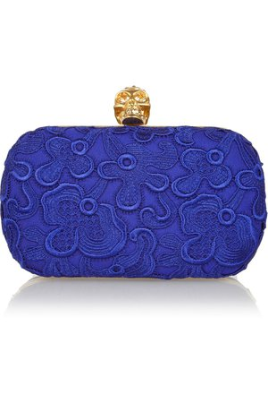 Royal blue Skull macramé lace box clutch | Alexander McQueen | NET-A-PORTER