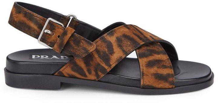 Leopard-Print Calf Hair Slingback Sandals