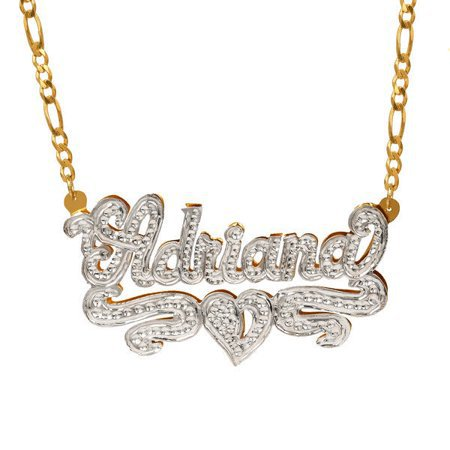 """Jay Aimee Designs - Personalized Sterling Silver or Gold Plated Nameplate Necklace with Beading and Rhodium, 18"""" Silver Plated Figaro Chain - Walmart.com - Walmart.com"""