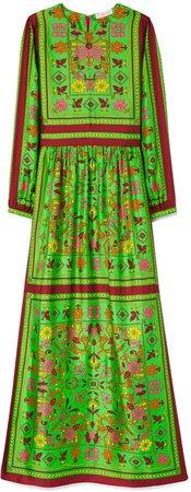 Silk Scarf Printed Long Dress