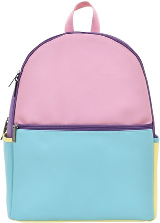 Colorblock Faux Leather Backpack