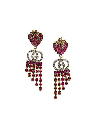 Gucci strawberry drop earrings $470 - Shop AW19 Online - Fast Delivery, Price