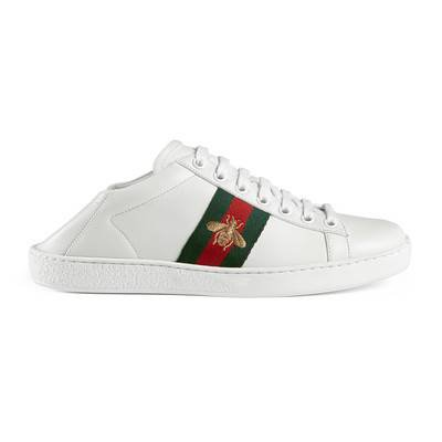 Ace leather sneaker in White leather with green and red Web grosgrain side detail with gold bee embroidery | Gucci Women's Sneakers