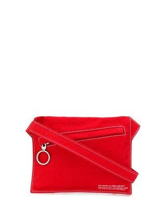 Off-White denim flat crossbody bag