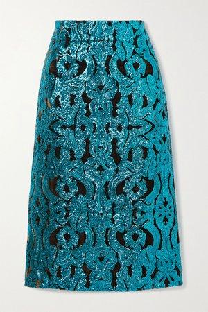 Turquoise Sequined velvet midi skirt   Dries Van Noten   NET-A-PORTER