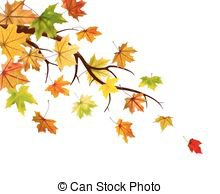 Autumn branch. Branch with autumn maple leaves, vector illustration.