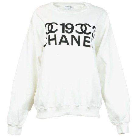 Chanel 2001 Collector's White/Black Crew Neck CC Logo Hoodie