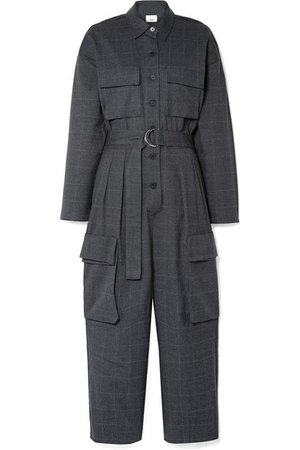 Frankie Shop   Linda belted checked woven jumpsuit   NET-A-PORTER.COM