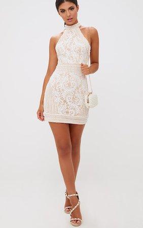 White High Neck Lace Crochet Bodycon Dress   PrettyLittleThing