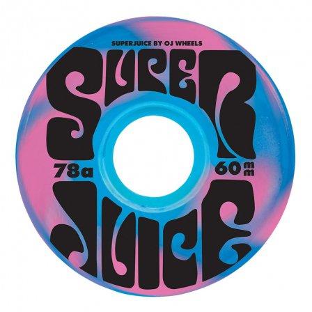 OJ Wheels: 60mm Super Juice Blue Pink Swirl 78a OJ Skateboard Wheels