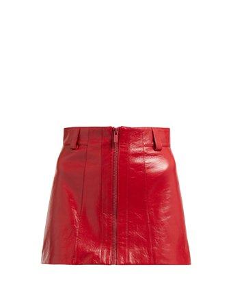 MIU MIU  Crackled-leather mini skirt