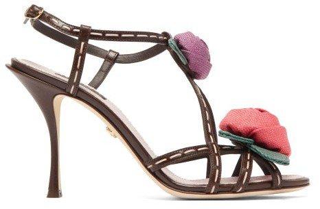 Keira Rose-applique Leather Sandals - Brown Multi