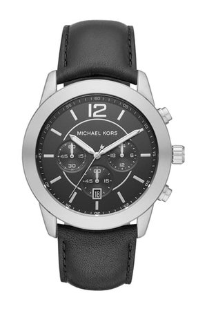 MICHAEL Michael Kors   Men's Mercer Leather Strap Watch, 45mm   Nordstrom Rack