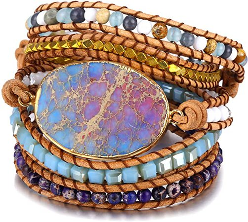 Bonnie 5 Strands Handmade Boho Leather Bracelet Jewelry Natural Gilded Jasper Stone Mixed Beaded Charm Bracelets (Purple): Jewelry