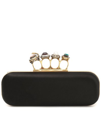 Alexander McQueen, Jeweled Four-Ring Silk Clutch