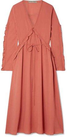 Ruffled Silk-georgette Midi Dress - Coral