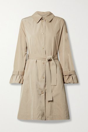 Belted Ruffled Shell Trench Coat - Beige