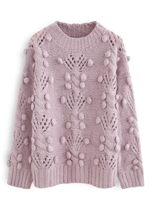 Cable Pom-Pom Eyelet Knit Sweater in Lilac - Retro, Indie and Unique Fashion