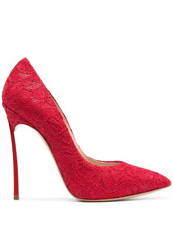 Casadei Blade lace-embellished pumps red 1F410D125HC1269 - Farfetch
