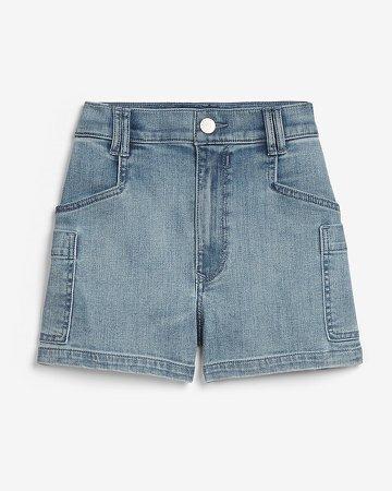 Super High Waisted Side Pocket Utility Jean Shorts