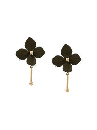 Marni Flora stud earrings gold & green ORMV0149A0T2000 - Farfetch