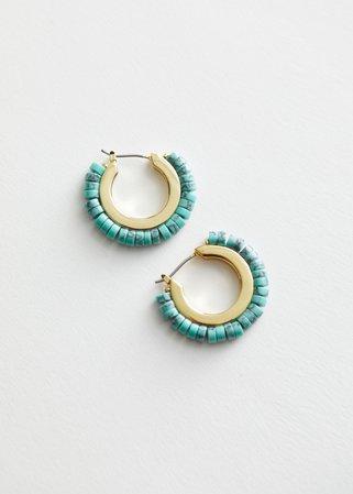 Stone Beaded Mini Hoop Earrings - Light Green - Hoops - & Other Stories