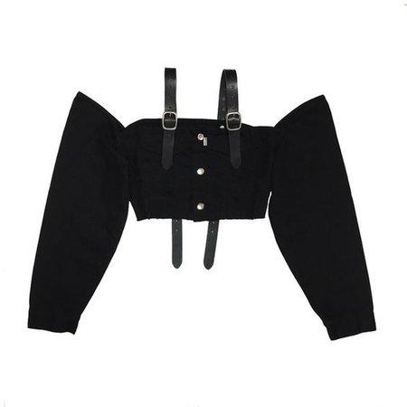 2017 S/S collection肩にリアルレザーのベルトを施したクロップTOPS.大胆に肩が出るデザイン。フロントはM.Y.O.B NYC オリジナルボタン。ベルトは長さ調節可能。ONE SIZE