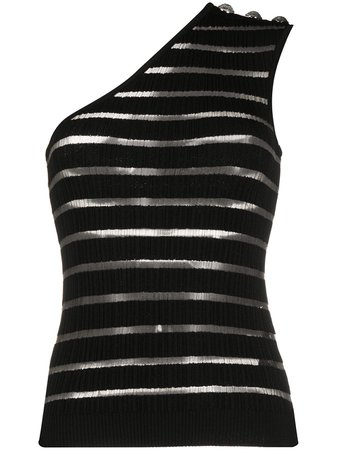 Balmain Striped one-shoulder Top - Farfetch