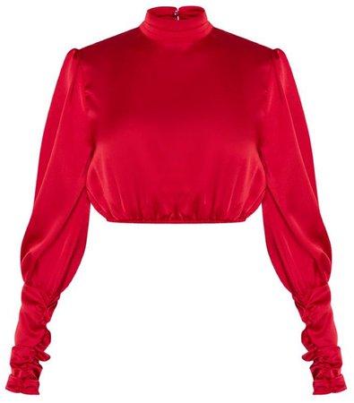 red satin crop top PLT