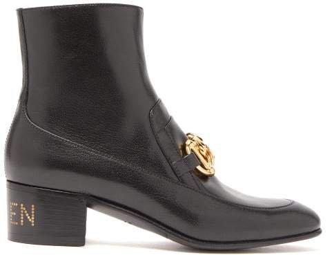 Ebal Horsbit Leather Ankle Boots - Womens - Black