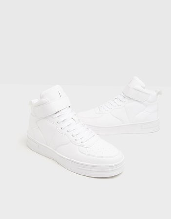 High-top sneakers with strap detail - Shoes - Woman | Bershka