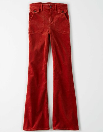 Super High-Waisted Corduroy Flare Pant rust