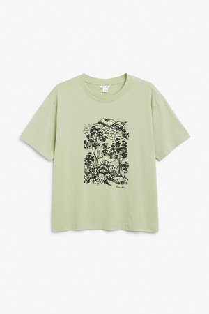 Cotton tee - Green - T-shirts - Monki WW