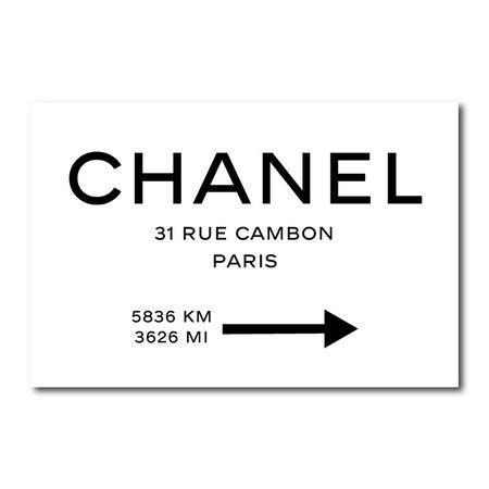 Chanel Rue Cambon Paris Sign Canvas Wall Art Print