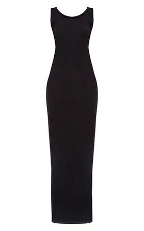 Basic Black Maxi Dress   PrettyLittleThing USA