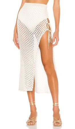 Camila Coelho Offshore Midi Skirt in White & Gold | REVOLVE