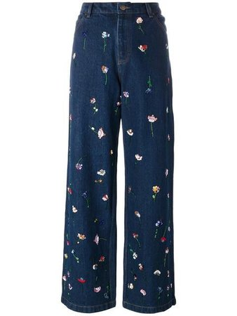 Ashish flower embroidered jeans