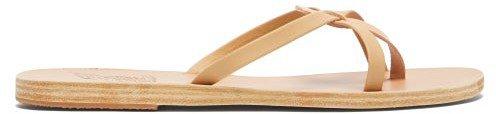 Orea Leather Slides - Tan