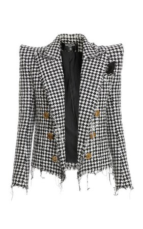 Houndstooth Cotton-Blend Spencer Jacket By Balmain | Moda Operandi