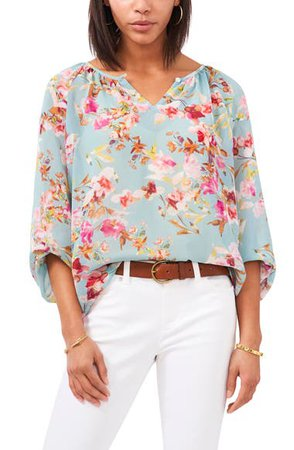 Vince Camuto Floral Peasant Blouse | Nordstrom