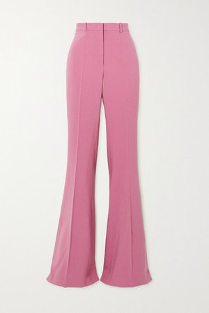 Charlie Wool-blend Crepe Flared Pants - Pink