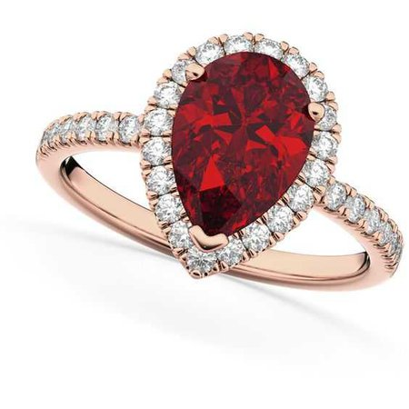 Allurez Pear Cut Halo Ruby & Diamond Engagement Ring 14K Rose Gold