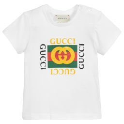 Gucci - White Cotton GG Logo T-Shirt | Childrensalon